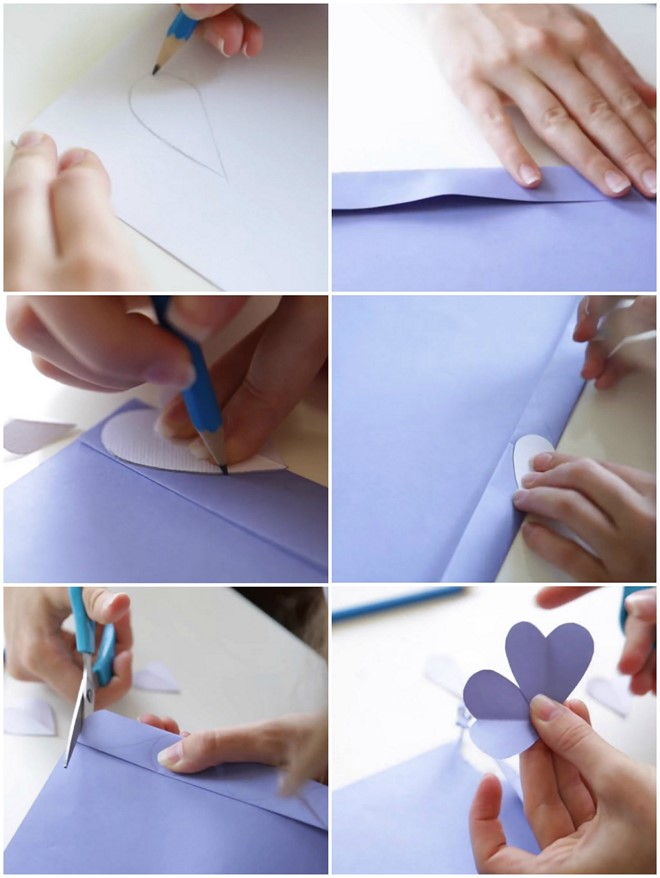how to cut out lots of paper heart shapes