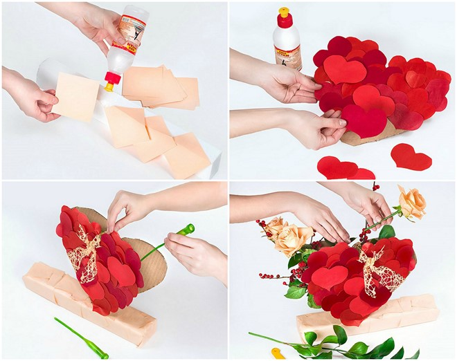 how to make flower gifts romantic bouquet with roses tutorial