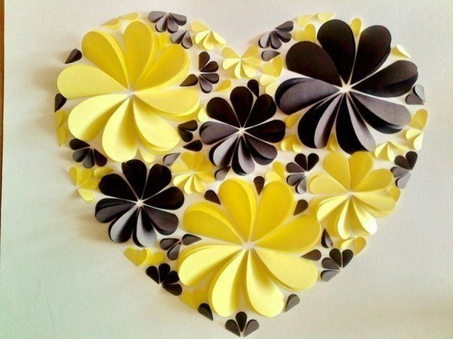how to make paper artwork flowers heart
