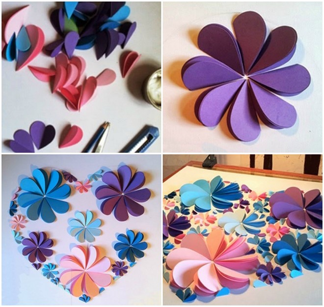 How to make 3d flower paper artwork easy craft idea for kids and how to make paper artwork step by step colored paper flowers mightylinksfo Choice Image