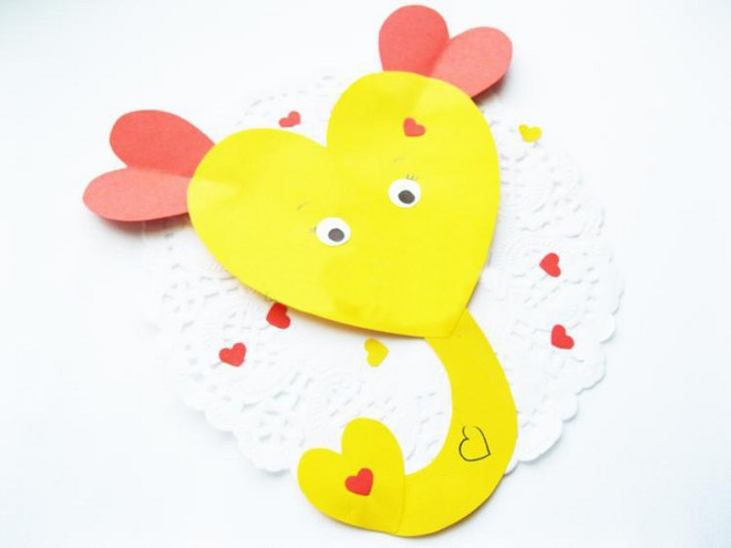 kindergarten heart animals valentines day card elephant