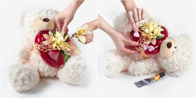 love flower gifts yellow orchid romantic composition with teddy bear
