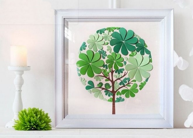 paper art and craft easy green tree flowers