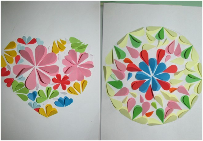 paper art for kids flowers heart circle