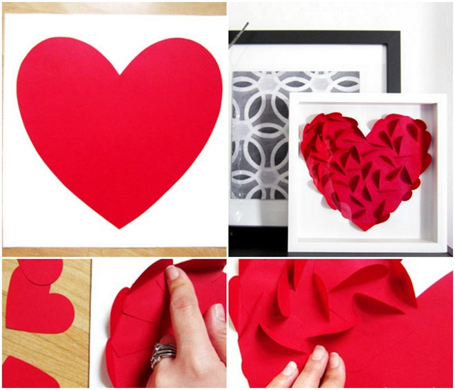 paper art home decor red heart 3d paper tutorial
