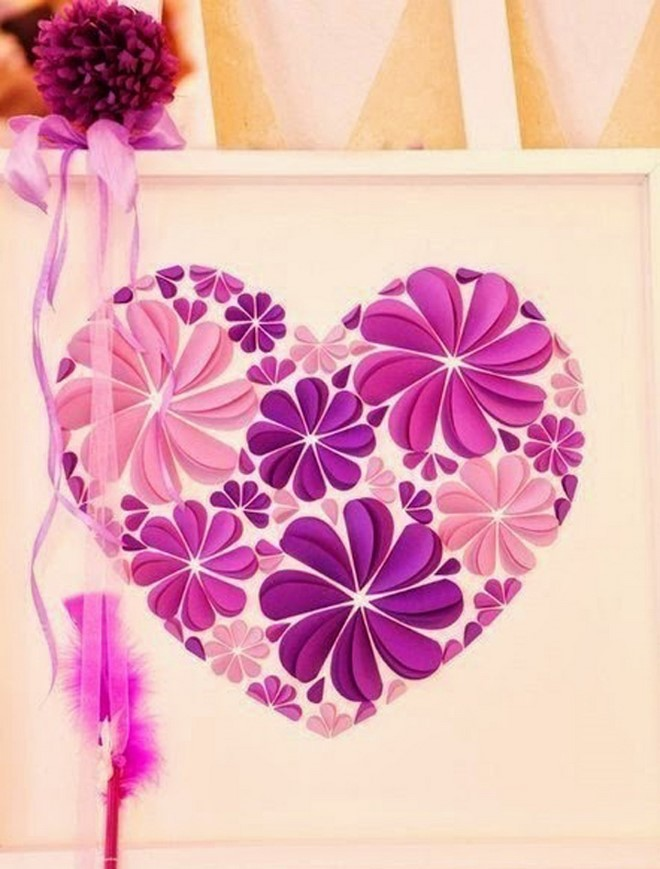 paper artwork flowers pink purple heart valentines day