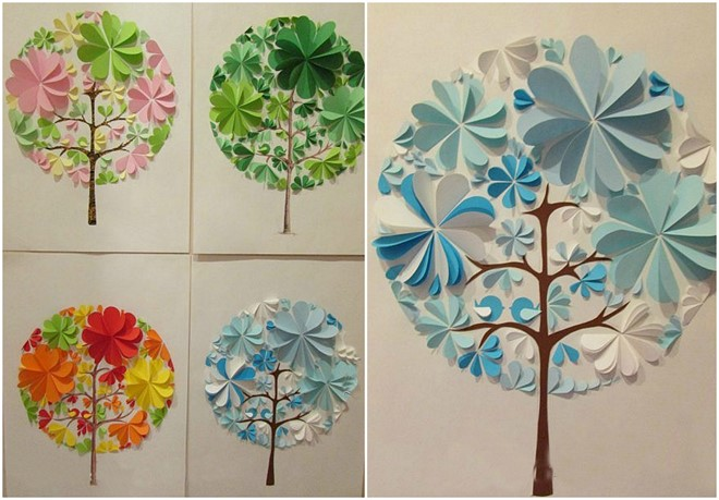 paper artwork for kids seasons tree diy
