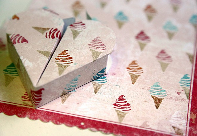small heart shaped gift box icecream scrapbooking paper