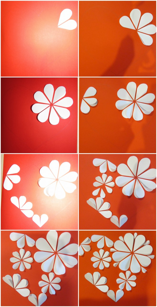 step by step paper artwork white flowers heart shape