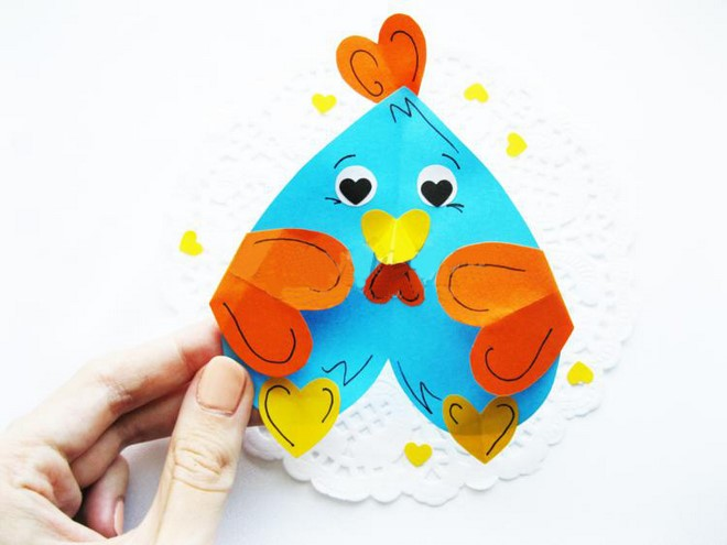 valentine art heart animals chicken tutorial