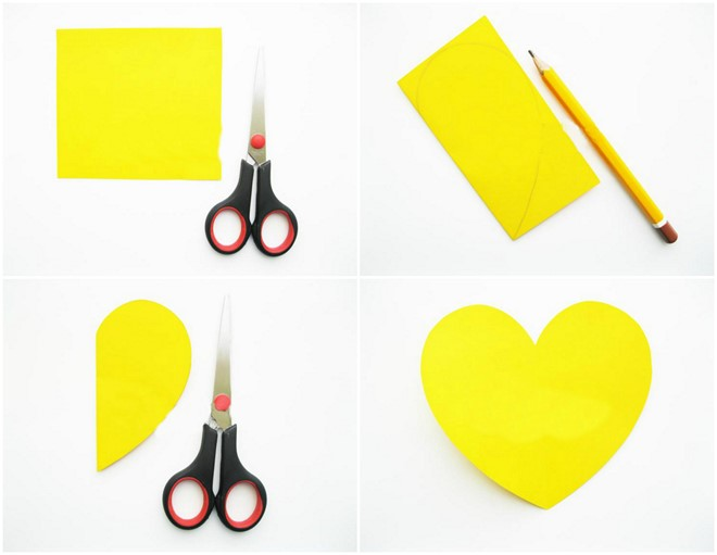 yellow paper heart shape