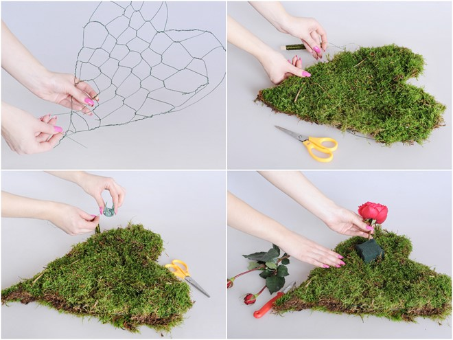 diy flower centerpiece moss heart for valentines day