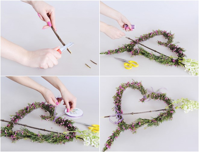 diy hanging flower arrangement heart shaped wreath
