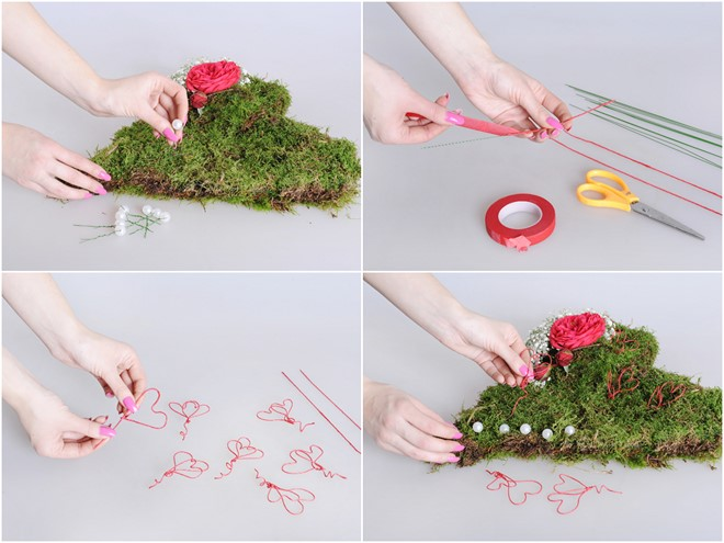 diy valentine flower arrangements tutorial for moss heart