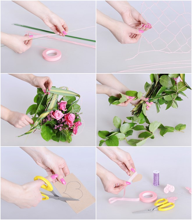simple diy flower bouquet tutorial with pink roses