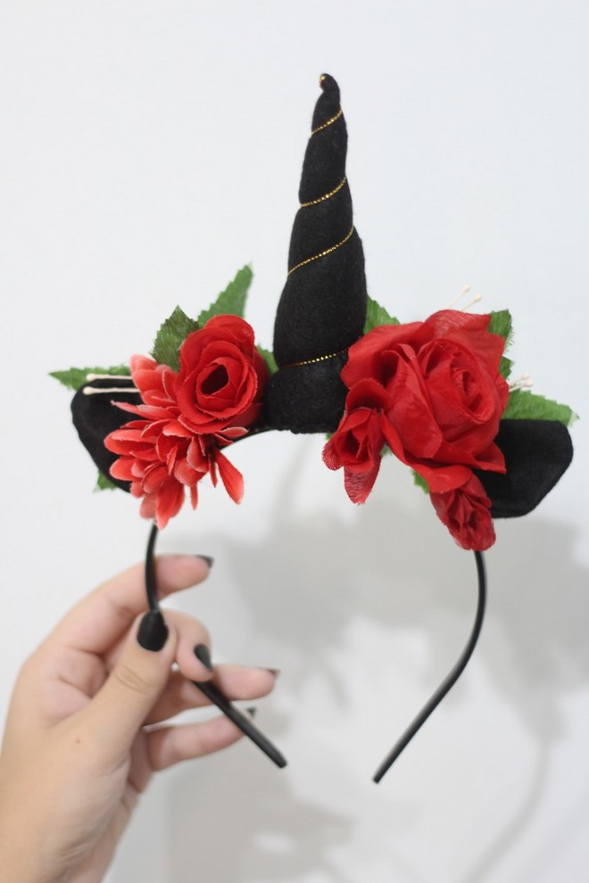 black unicorn headband red roses for adults