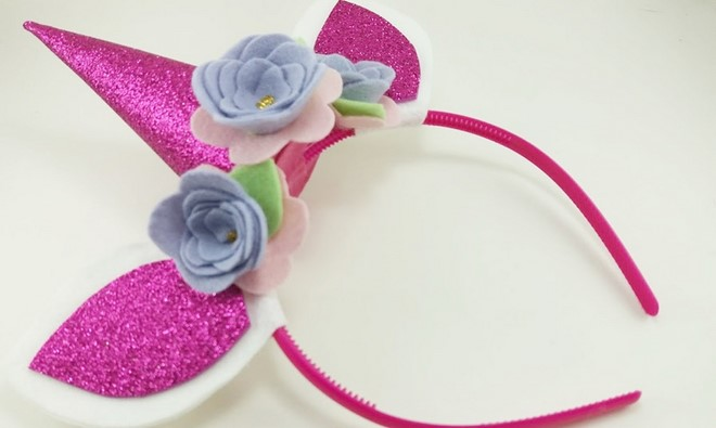 diy easy unicorn headband with felt flowers