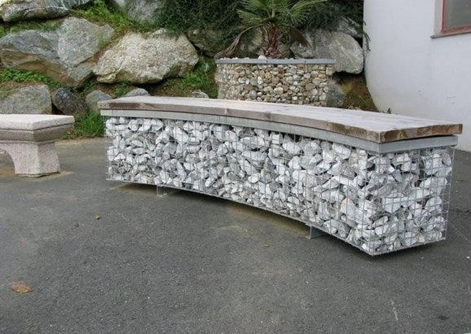 diy outdoor furnitures curved gabion bench construction