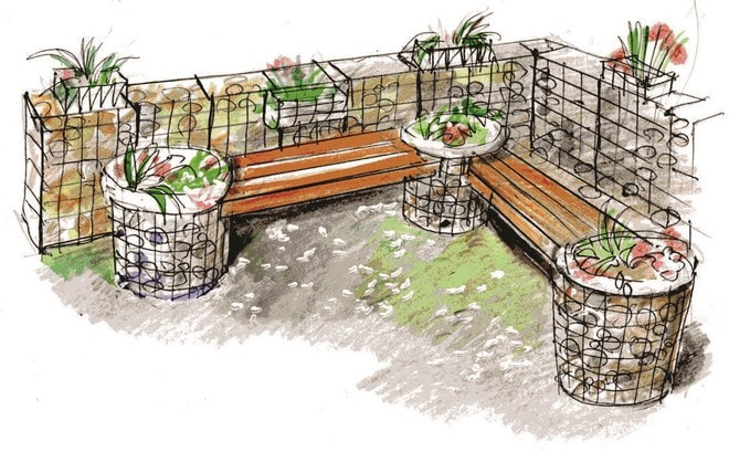 diy yard decoration gabion wall bench design ideas