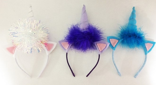 felt unicorn headband with ears feather boa