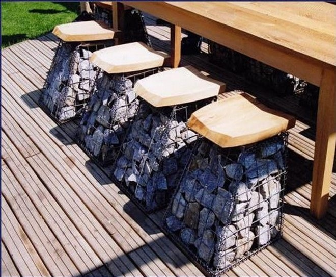 handmade patio furnitures gabion basket seats