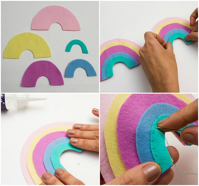 how to make felt rainbow baby nursery mobile