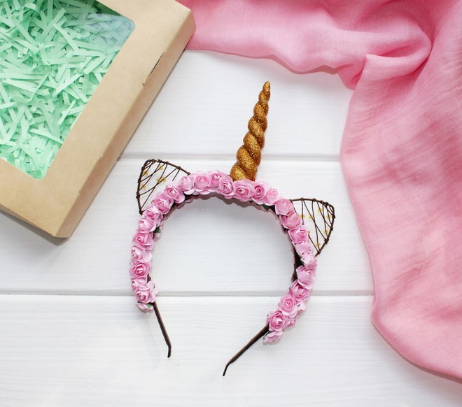 unicorn ears and horn headband made of wire