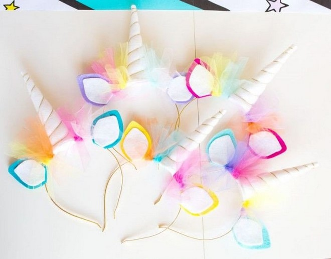 unicorn horn headband with ears rainbow tulle white felt horn