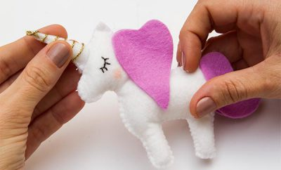 unicorn made of felt nursery baby mobile