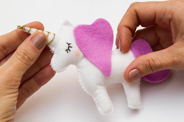 unicorn made of felt nursery baby mobile