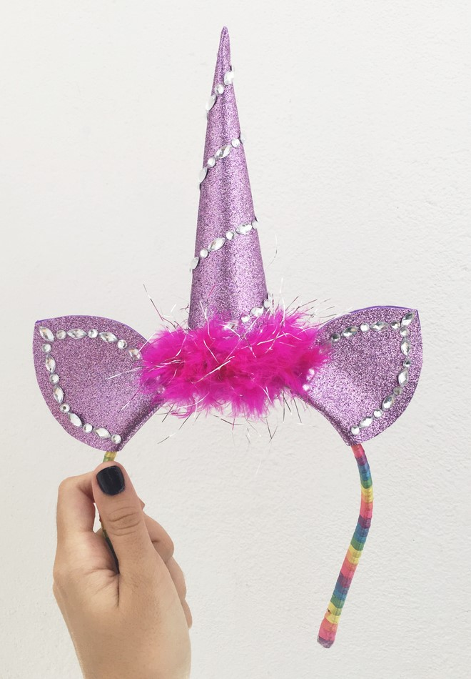 unicorn party headband purple decorated with gems feather boa