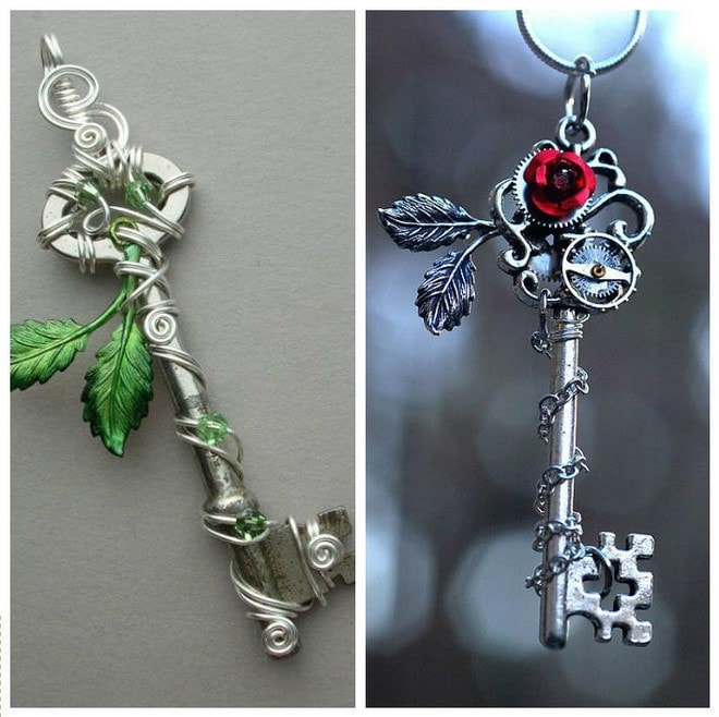 beautiful jewelry art projects with old keys