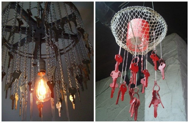 diy chandelier craft projects with old keys