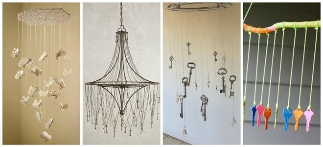 diy chandelier with hanging old keys