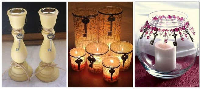 diy ideas for old keys candle holders decorations
