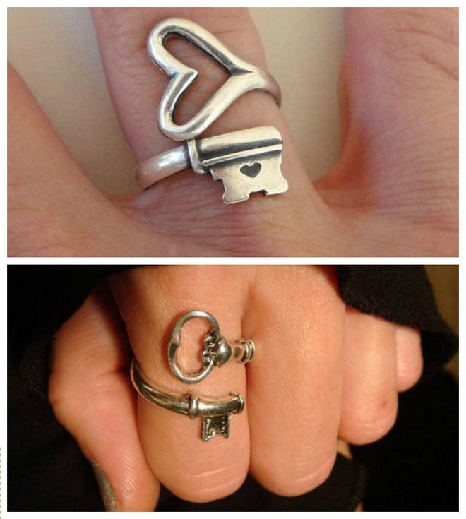 diy ladys ring jewelry made from old keys
