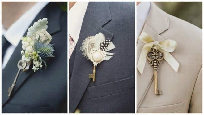diy man wedding brooch made from old keys