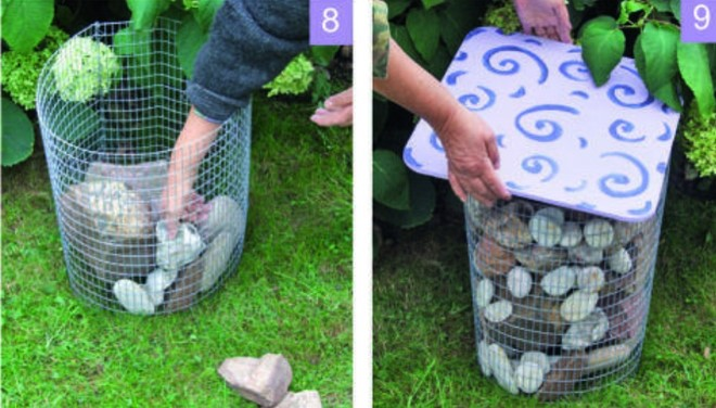 diy metal garden stool filled with stones tutorial