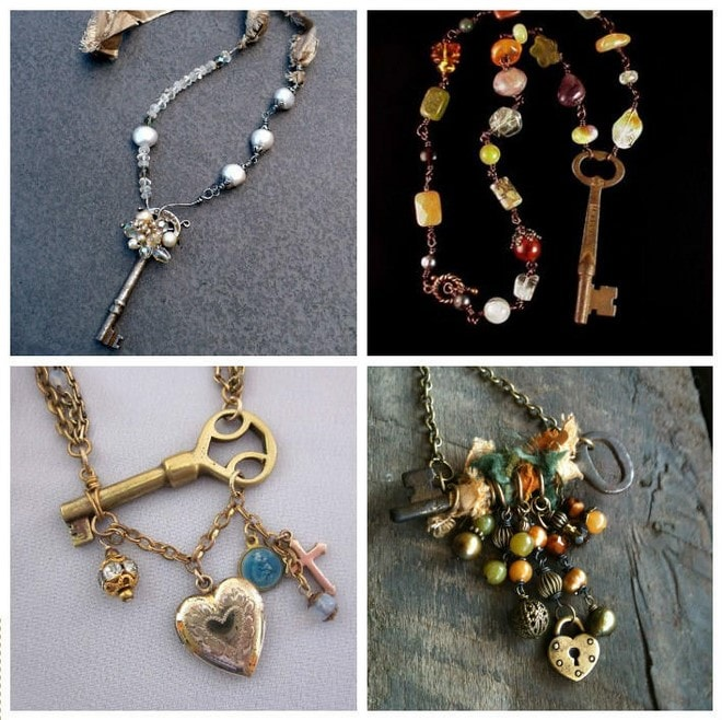 diy necklaces made from old keys