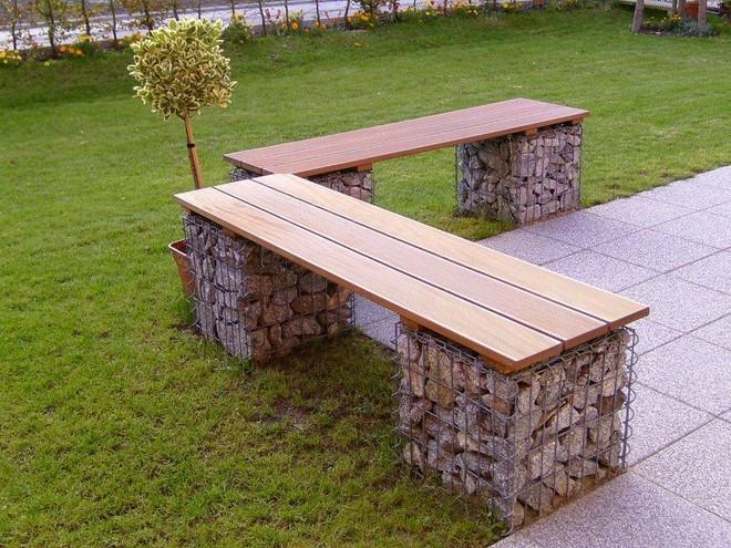 gabion bench garden L-shape wooden seat