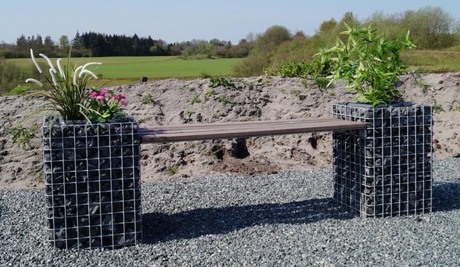 gabion stone cages garden seat wooden slats plants