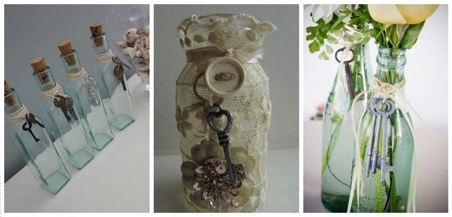 glass bottle decoration projects to do with old keys