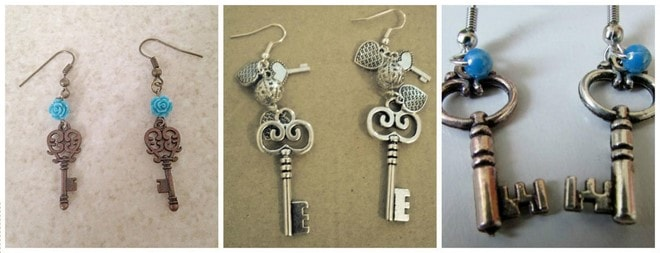 handmade artwork unique earrings from old keys