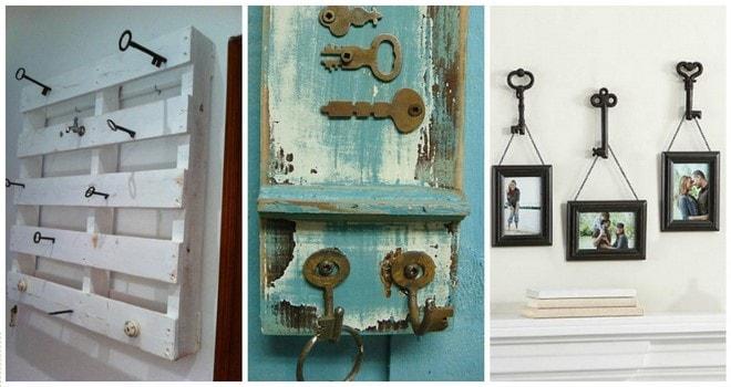 wall hangers diy old keys decorating ideas
