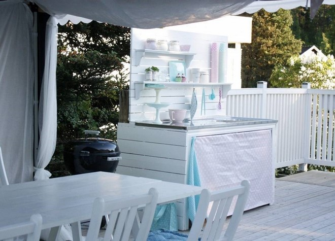 diy build outdoor kitchen white country style romantic
