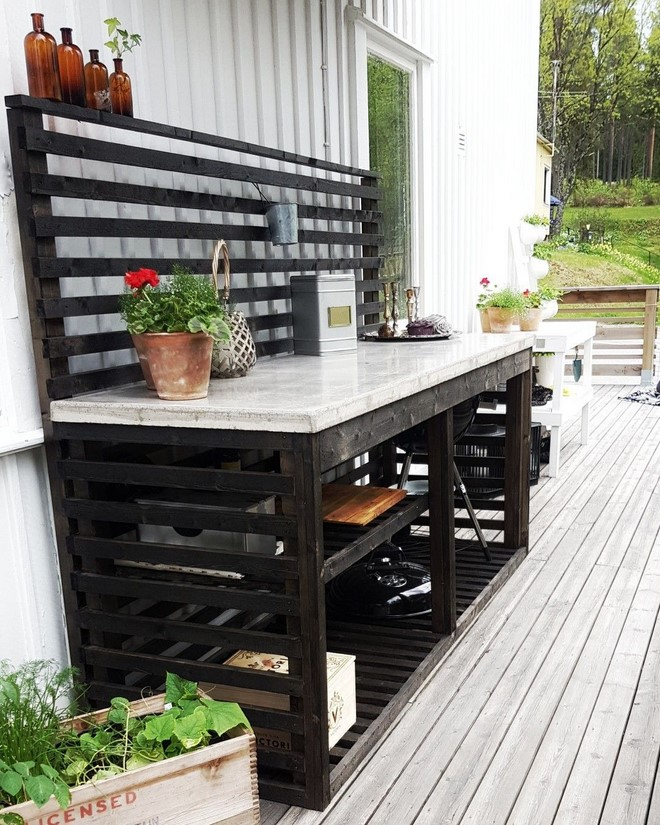 diy outdoor kitchen island bar ideas on a budget wood frame concrete countertop