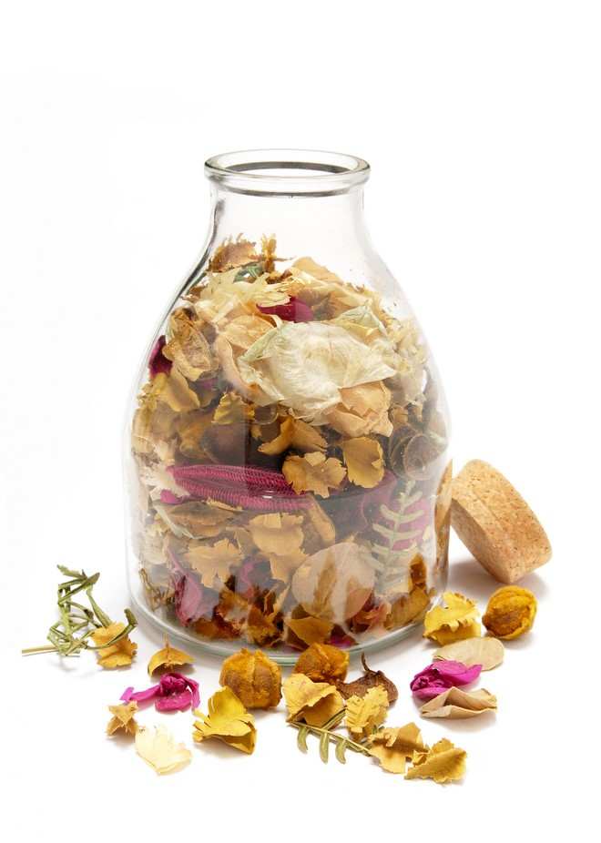 potpourri mix yellow in glass bottle