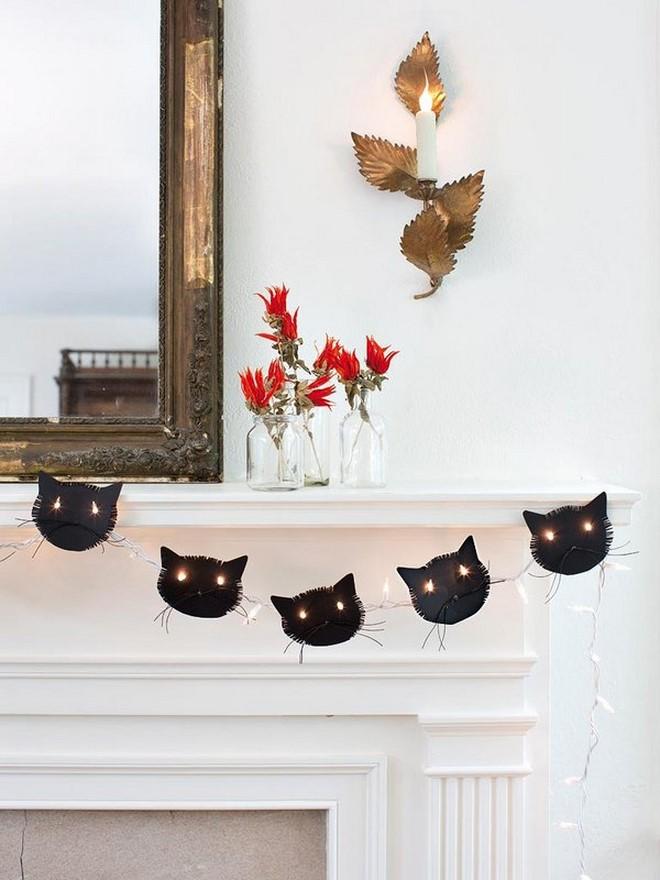 Halloween black cat garland light chain fireplace