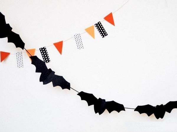 black paper bats hanging garland quick last minute halloween decorations
