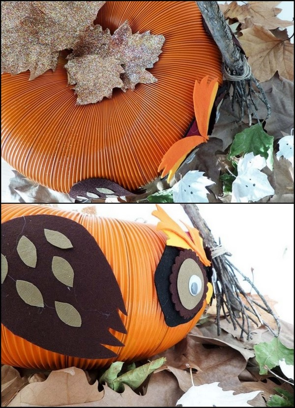 pumpkin owl small broom made of sticks last minute halloween decor
